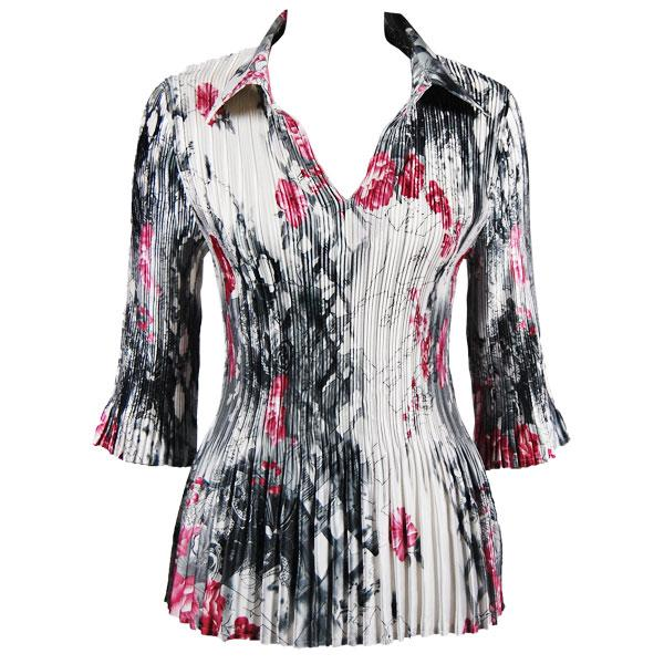 Satin Mini Pleats - Three Quarter Sleeve w/ Collar White-Black-Pink Floral Satin Mini Pleats - Three Quarter Sleeve w/ Collar - One Size (S-XL)