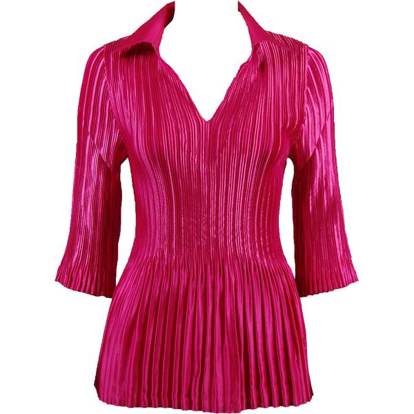 Satin Mini Pleats - Three Quarter Sleeve w/ Collar Solid Magenta Satin Mini Pleats - Three Quarter Sleeve w/ Collar - One Size (S-XL)