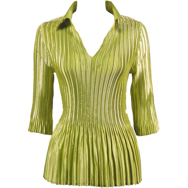 Satin Mini Pleats - Three Quarter Sleeve w/ Collar Solid Leaf Green Satin Mini Pleats - Three Quarter Sleeve w/ Collar - One Size (S-XL)