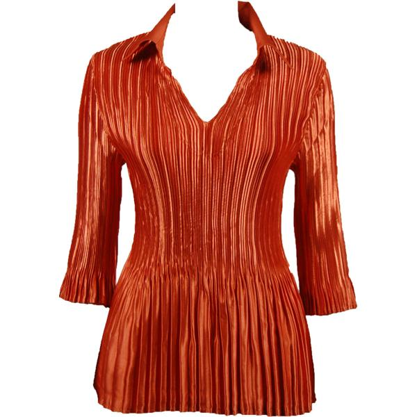 Satin Mini Pleats - Three Quarter Sleeve w/ Collar Solid Paprika Satin Mini Pleats - Three Quarter Sleeve w/ Collar - One Size (S-XL)