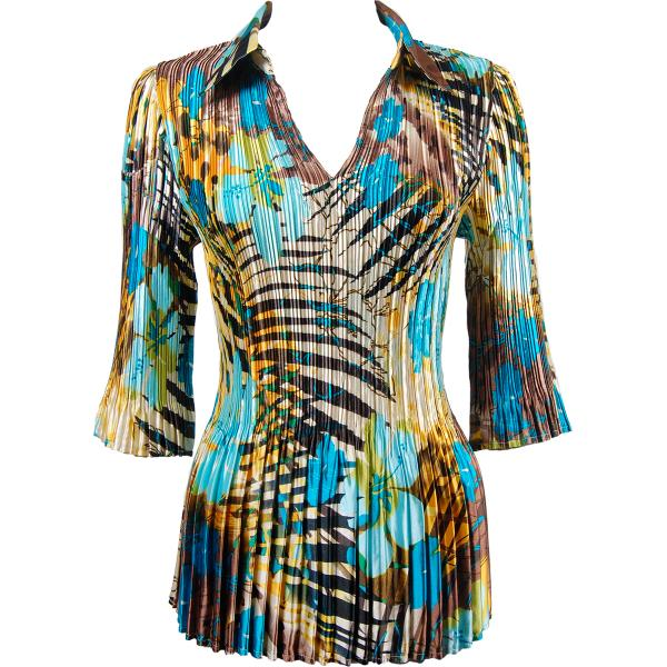 wholesale Satin Mini Pleats - Three Quarter Sleeve w/ Collar Jungle Floral - Turquoise Satin Mini Pleats - Three Quarter Sleeve w/ Collar - One Size (S-XL)