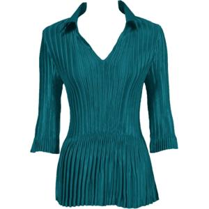 Wholesale  Solid Dark Turquoise Satin Mini Pleats - Three Quarter Sleeve w/ Collar - One Size (S-XL)