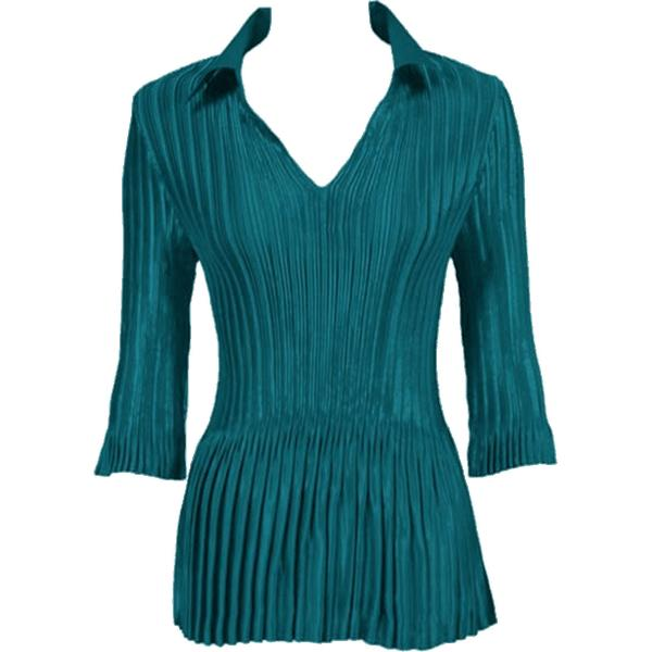 Satin Mini Pleats - Three Quarter Sleeve w/ Collar Solid Dark Turquoise Satin Mini Pleats - Three Quarter Sleeve w/ Collar - One Size (S-XL)