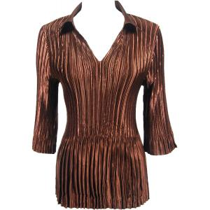 Wholesale  Solid Brown Chocolate Satin Mini Pleats - Three Quarter Sleeve w/ Collar - One Size (S-XL)