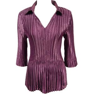 Wholesale  Solid Eggplant Satin Mini Pleats - Three Quarter Sleeve w/ Collar - One Size (S-XL)