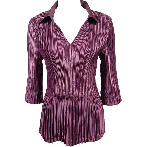Satin Mini Pleats - Three Quarter Sleeve w/ Collar Solid Eggplant Satin Mini Pleats - Three Quarter Sleeve w/ Collar - One Size (S-XL)