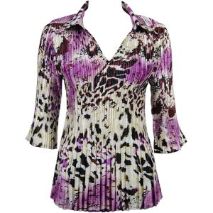 Wholesale  Reptile Floral - Purple Satin Mini Pleats - Three Quarter Sleeve w/ Collar - One Size (S-XL)