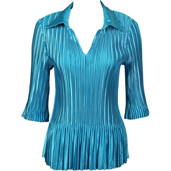 Satin Mini Pleats - Three Quarter Sleeve w/ Collar Solid Aqua Satin Mini Pleats - Three Quarter Sleeve w/ Collar - One Size (S-XL)