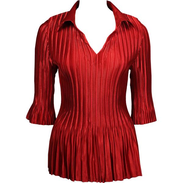 Satin Mini Pleats - Three Quarter Sleeve w/ Collar Solid Red Satin Mini Pleats - Three Quarter Sleeve w/ Collar - One Size (S-XL)