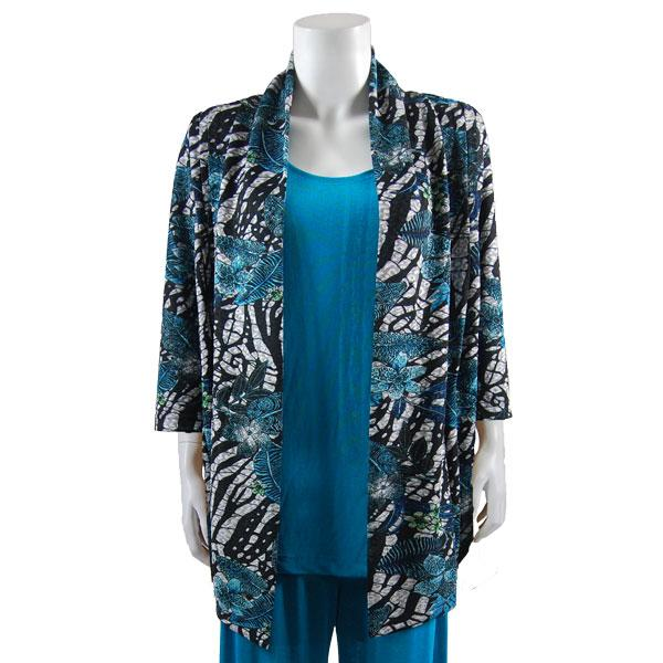 Wholesale Slinky Travel Pants* Zebra Floral - Teal - One Size (S-L)