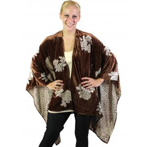 Wholesale  Brown Ruana Cape - Velvet Vintage Rose -