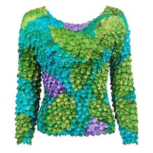 wholesale Coin Prints - Long Sleeve Leaves - Green-Violet-Teal (MB) - One Size (S-XL)