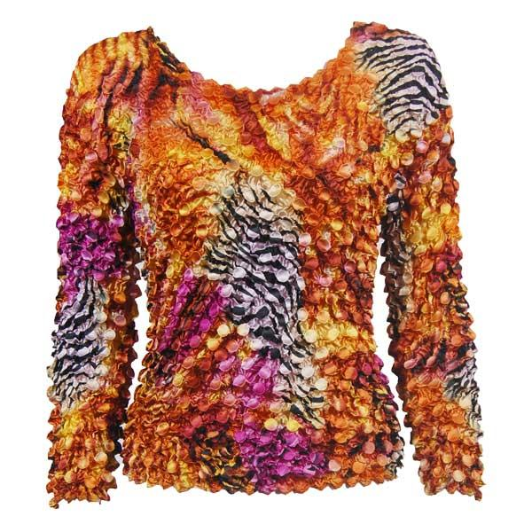 wholesale Coin Prints - Long Sleeve Abstract Zebra Orange-Pink - One Size (S-XL)