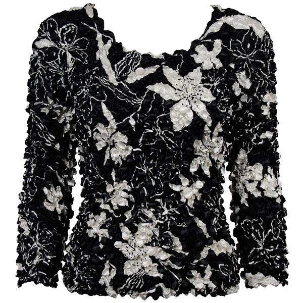 wholesale Coin Prints - Long Sleeve Floral - White on Black NEED BU - One Size (S-XL)