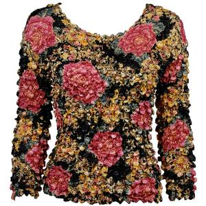 wholesale Coin Prints - Long Sleeve Black-Pink Rose Floral - One Size (S-XL)
