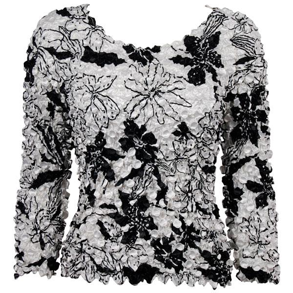 wholesale Coin Prints - Long Sleeve Floral - Black on White NEED BU - One Size (S-XL)