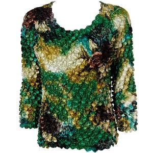 wholesale Coin Prints - Long Sleeve Floral - Green-Gold - One Size (S-XL)