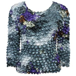 wholesale Coin Prints - Long Sleeve Floral Charcoal-Purple - One Size (S-XL)