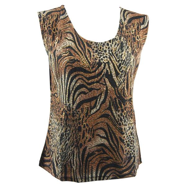 wholesale Slinky Travel Tops - Sleeveless* Animal Print with Brown and Gold Accent - Plus Size Fits (XL-2X)