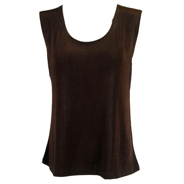 wholesale Slinky Travel Tops - Sleeveless* Dark Brown - Plus Size Fits (XL-2X)