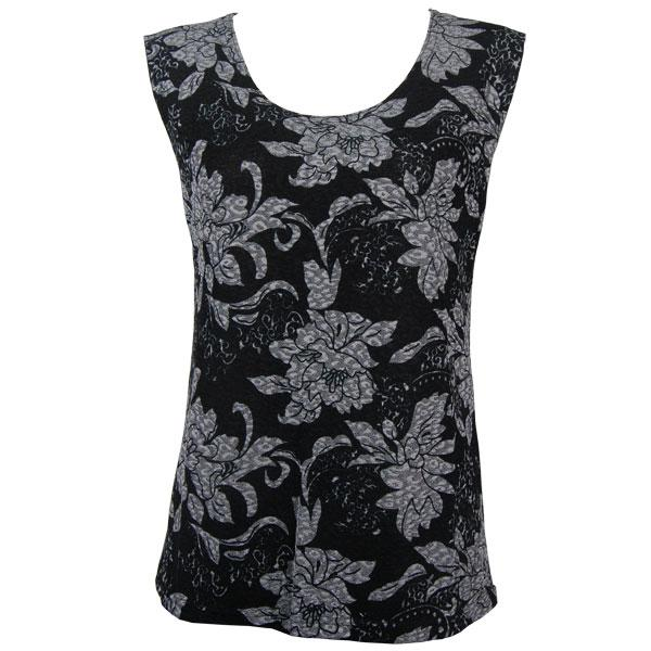 wholesale Slinky Travel Tops - Sleeveless* Floral Silver on Black - Plus Size Fits (XL-2X)