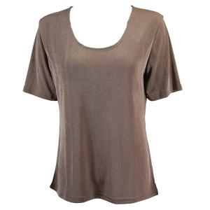 wholesale Slinky Travel Tops - Short Sleeve* Taupe - Plus Size Fits (XL-2X)