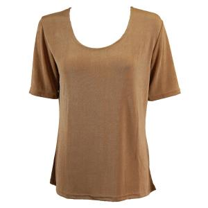 wholesale Slinky Travel Tops - Short Sleeve* Champagne - Plus Size Fits (XL-2X)
