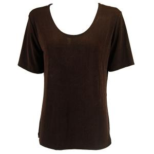wholesale Slinky Travel Tops - Short Sleeve* Dark Brown - Plus Size Fits (XL-2X)