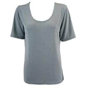 wholesale Slinky Travel Tops - Short Sleeve* Silver - Plus Size Fits (XL-2X)