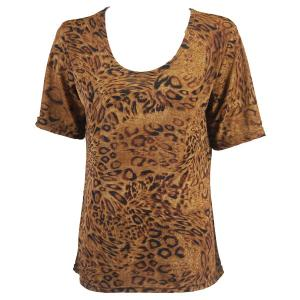 wholesale Slinky Travel Tops - Short Sleeve* Leopard Print - One Size (S-L)