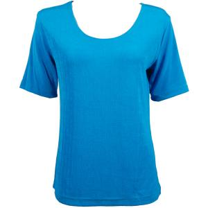 wholesale Slinky Travel Tops - Short Sleeve* Turquoise - One Size (S-L)
