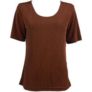 wholesale Slinky Travel Tops - Short Sleeve* Brown - Plus Size Fits (XL-2X)