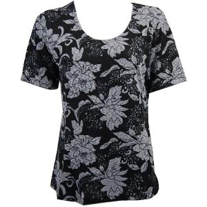 wholesale Slinky Travel Tops - Short Sleeve* Floral Silver on Black - Plus Size Fits (XL-2X)