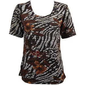 wholesale Slinky Travel Tops - Short Sleeve* Zebra Floral - Brown - Plus Size Fits (XL-2X)