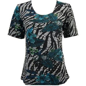 wholesale Slinky Travel Tops - Short Sleeve* Zebra Floral - Teal - Plus Size Fits (XL-2X)