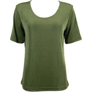 wholesale Slinky Travel Tops - Short Sleeve* Olive - Plus Size Fits (XL-2X)
