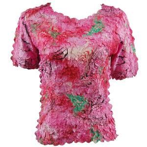 wholesale Petal Shirts - Short Sleeve  Abstract Pink-Red - One Size (S-XL)