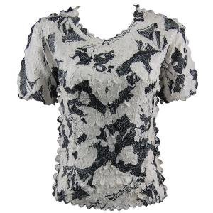 wholesale Petal Shirts - Short Sleeve  African White-Black - One Size (S-XL)
