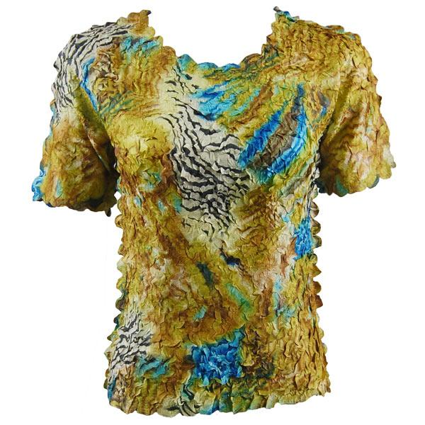 wholesale Petal Shirts - Short Sleeve  Abstract Zebra Gold-Blue - Queen Size Fits (XL-3X)