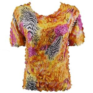 wholesale Petal Shirts - Short Sleeve  Abstract Zebra Orange-Pink - Queen Size Fits (XL-3X)