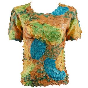 wholesale Petal Shirts - Short Sleeve  Leaves Turquoise-Green-Copper - Queen Size Fits (XL-3X)