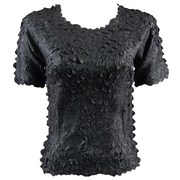 wholesale Petal Shirts - Short Sleeve  Solid Black - Queen Size Fits (XL-3X)