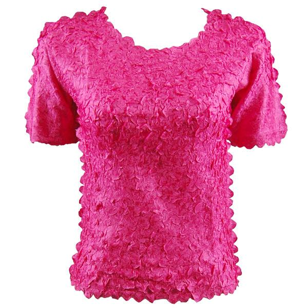 wholesale Petal Shirts - Short Sleeve  Solid Hot Pink - Queen Size Fits (XL-3X)