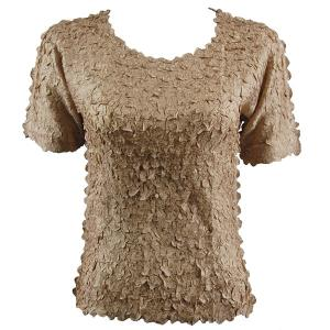 wholesale Petal Shirts - Short Sleeve  Solid Champagne - Queen Size Fits (XL-3X)