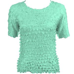 wholesale Petal Shirts - Short Sleeve  Solid Light Turquoise - Queen Size Fits (XL-3X)