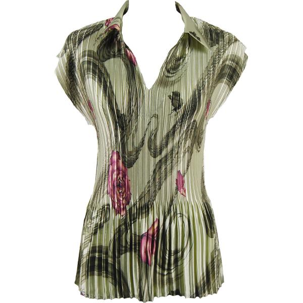 wholesale Satin Mini Pleats - Cap Sleeve with Collar Multi Green Floral Satin Mini Pleat - Cap Sleeve with Collar - One Size (S-XL)