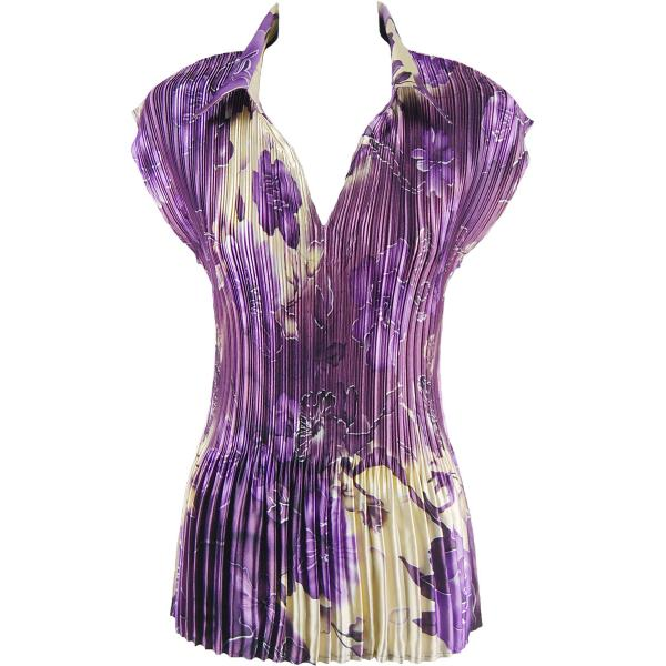 wholesale Satin Mini Pleats - Cap Sleeve with Collar Rose Floral - Purple Satin Mini Pleat - Cap Sleeve with Collar - One Size (S-XL)