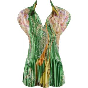 Wholesale  Swirl Green-Gold Satin Mini Pleat - Cap Sleeve with Collar - One Size (S-XL)