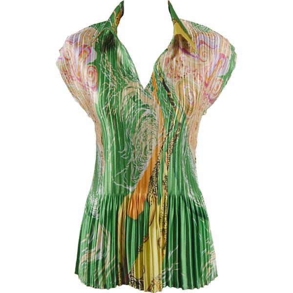 wholesale Satin Mini Pleats - Cap Sleeve with Collar Swirl Green-Gold Satin Mini Pleat - Cap Sleeve with Collar - One Size (S-XL)