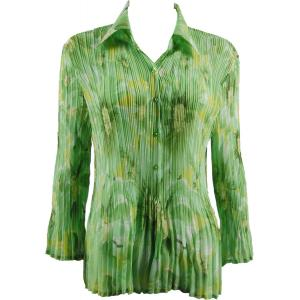 wholesale Georgette Mini Pleats - Blouse Daisies - Green - One Size (S-XL)